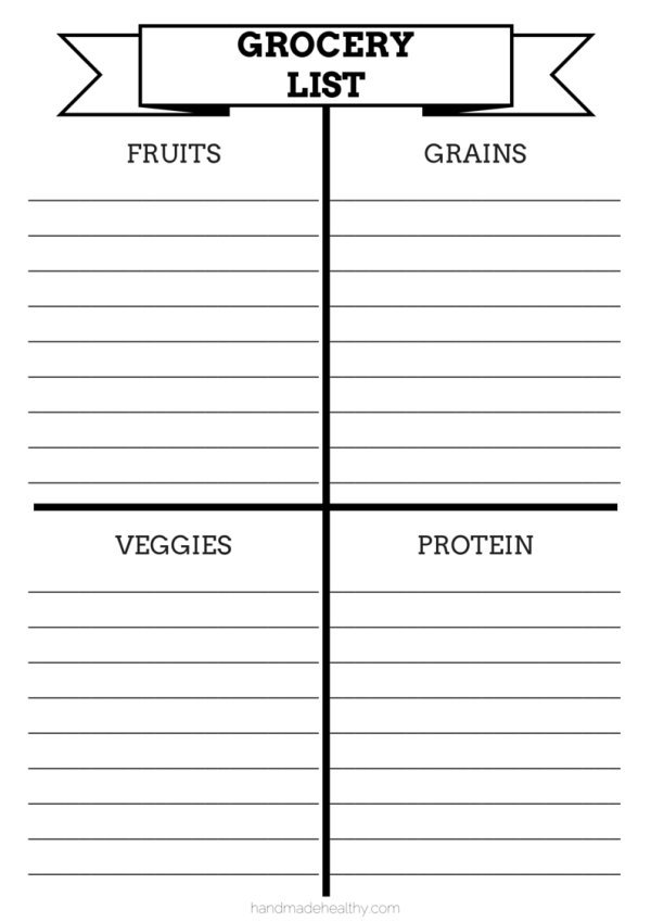 GROCERY LIST  Grocery List Template Printable