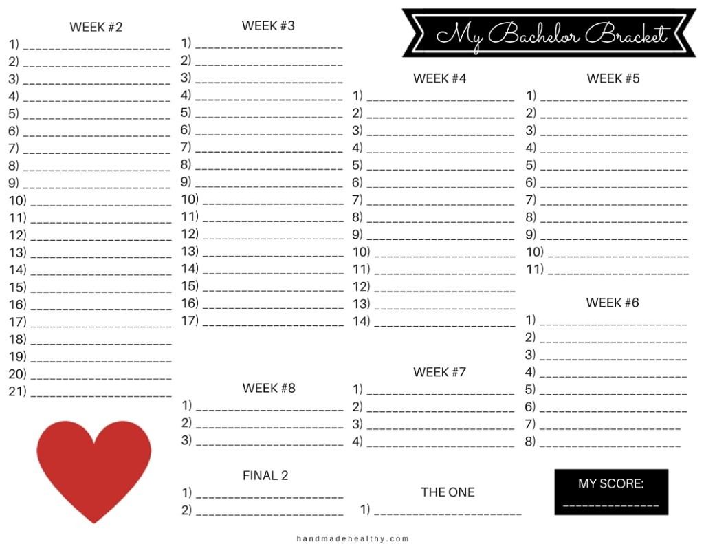 Bachelor Bracket Printable