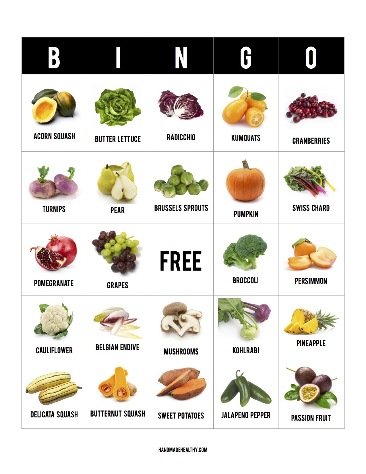 photo regarding Fall Bingo Printable known as PRINTABLE] Tumble FRUIT + VEGGIE BINGO! Selfmade Healthier